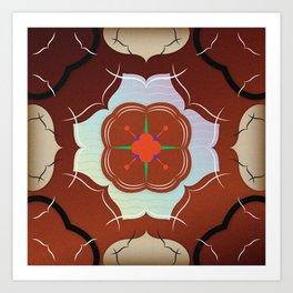 Vintage Tiles: Red Art Print