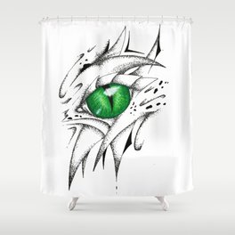 Green Fantasy Dragon Eye Shower Curtain