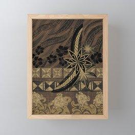 Vintage Samoan Golden Brown Tribal Tiare Framed Mini Art Print