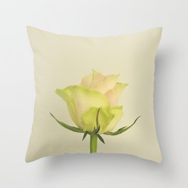 A single pink rose bud Throw Pillow