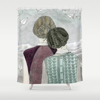 planes Shower Curtains featuring Paper Planes by Yuliya