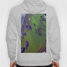 Fluid Art Acrylic Painting, Pour 12, Green, Purple, & Light Blue Blended Colors Hoody