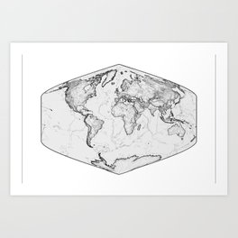 World Map Hexagon Art Print