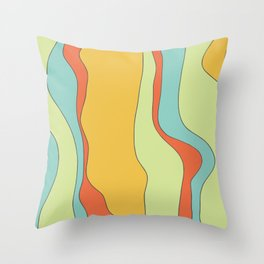 Curly lines of colour pattern Throw Pillow