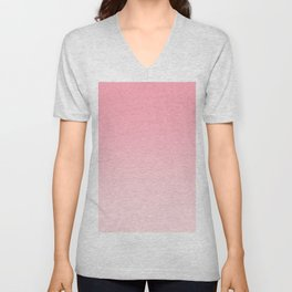 Pink to Pastel Pink Horizontal Linear Gradient Unisex V-Neck