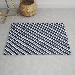 Grey, Dim Grey, Light Cyan, Black & Midnight Blue Colored Stripes Pattern Rug