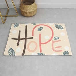 Hope typography in pink Rug