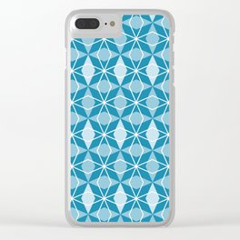 Rhombus Pattern, Pacific Blue Clear iPhone Case