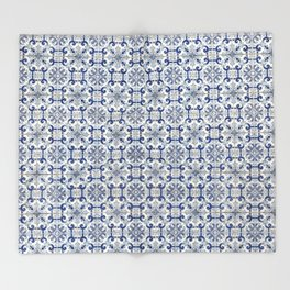 Portuguese tiles pattern blue Throw Blanket