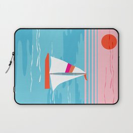 Mellow Out - memphis throwback retro classic neon yacht boating sailboat ocean sea 1980s 80s pop art Laptop Sleeve