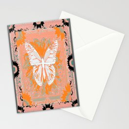 Pale Monarch Butterfly & Coral-Curry Color Western Art Design Stationery Cards