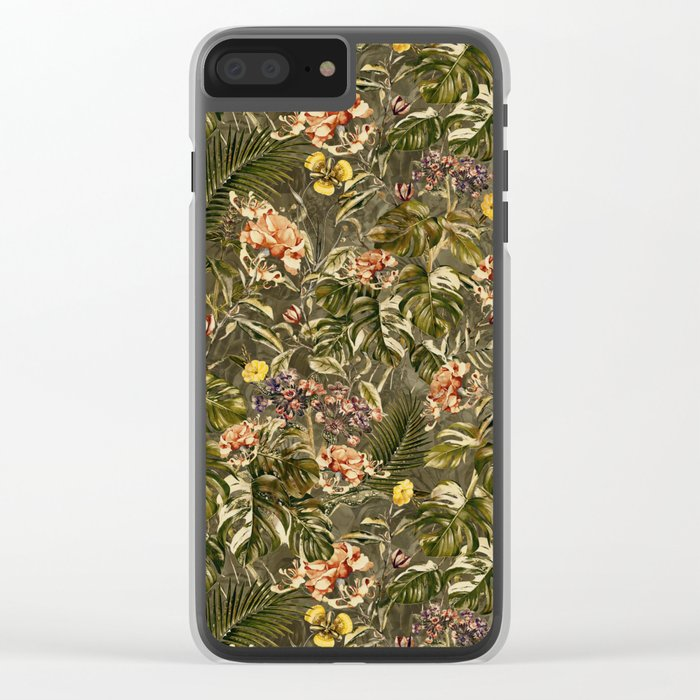 Tropical Camouflage Clear iPhone Case