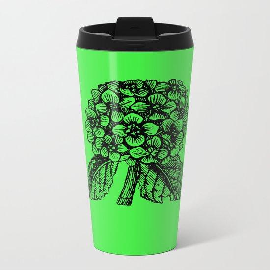 Green Hydrangea Metal Travel Mug