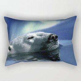 Aurora Dreaming - Swimming Polar Bear Rectangular Pillow