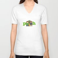 psych V-neck T-shirts featuring Psych by MythicPhoenix