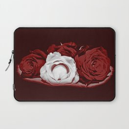 Deep Red and White Roses Laptop Sleeve