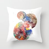 planets Throw Pillows featuring Planets by emluluna