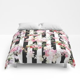 Bold pink watercolor roses floral black white stripes Comforters