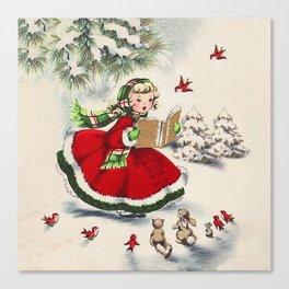 Vintage Christmas Girl Canvas Print