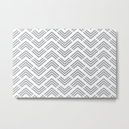 Grey and White Chevron Rhombus Arrow Pattern Pairs 2022 Popular Color Over The Moon 434-4DB Metal Print