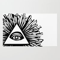 all seeing eye Area & Throw Rugs featuring All seeing camera eye by dsimpson