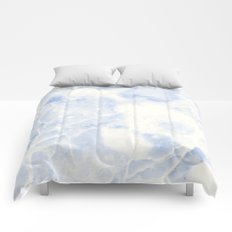 Blue and White Marble Waves Comforters