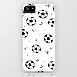 Fun grass and soccer ball sports illustration pattern iPhone Case