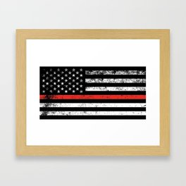 Firefighter Red Line American Flag Framed Art Print