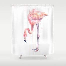 Flamingo Watercolor Painting Pink Tropical Birds Facing Left Shower Curtain
