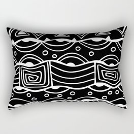 Wavy Tribal Lines with Shapes - White on Black - Doodle Drawing Rectangular Pillow