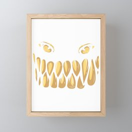 Monster Face Evil Grin Halloween Costume Gift Framed Mini Art Print