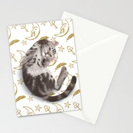 Cat lying down on the moon pattern background Stationery Cards