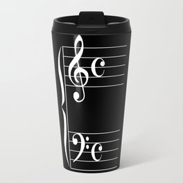 Bass And Treble Clef  Background Travel Mug