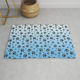Paw Prints Light Blue White Gradient Rug