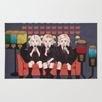 ahs Area & Throw Rugs featuring AHS Hotel by minniemorrisart