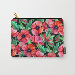 Plenty of Poppies - black Carry-All Pouch