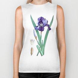 Vintage Botanical Purple Iris Flower Biker Tank