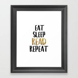 Eat Sleep Read Repeat Gold Framed Art Print