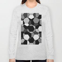 Retro Rocks - 50 Shades Of Grey - Abstract, black and white, hexagonal pattern Long Sleeve T-shirt