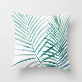 Twin Palm Fronds - Teal Throw Pillow