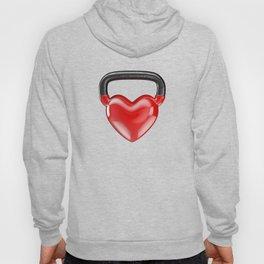 Kettlebell heart vinyl / 3D render of heavy heart shaped kettlebell Hoody