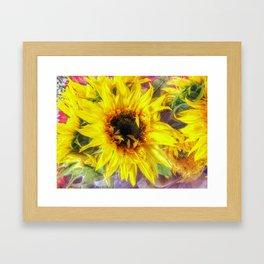 Sunflower and Ribbons Framed Art Print