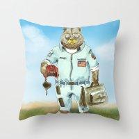top gun Throw Pillows featuring Top Gun Bear by Mat Art