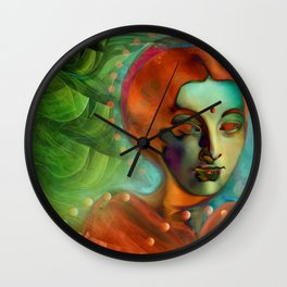 """""""Exotic woman in green and orange tropical jungle"""" Wall Clock"""