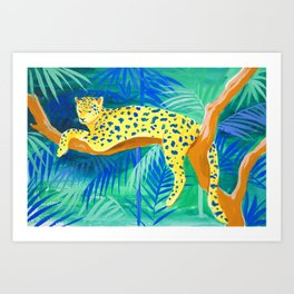 Leopard on Tree Art Print