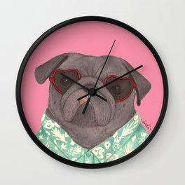 Hawaiian Pug Wall Clock