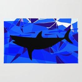 Shark art Geometric art Blue sea ocean art Triangles art Rug