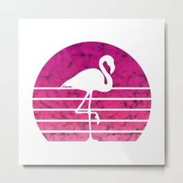 Flamingo Flamingos Walk Pink Colorful Retro Gift Metal Print