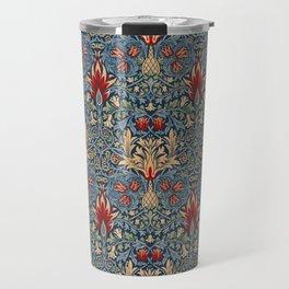 Modern Victorian Maximalist Pattern Art Decor With Red and Orange Travel Mug