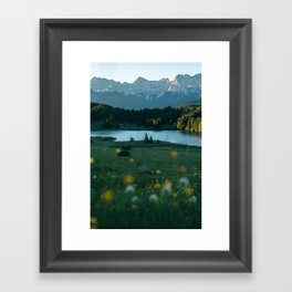 Sunrise at a mountain lake with forest - Landscape Photography Framed Art Print